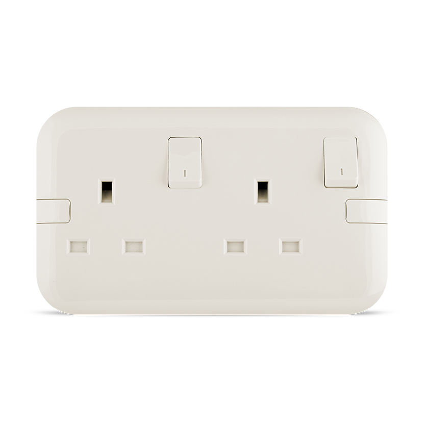 13A 2 gang Socket white color spectra