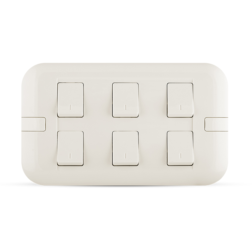 10A 6 gang switch white color spectra