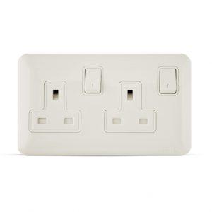 13a 2gang almas socket white color