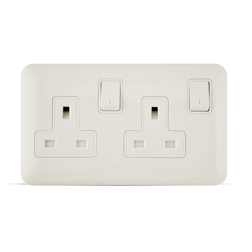 13a 2gang almas socket white color