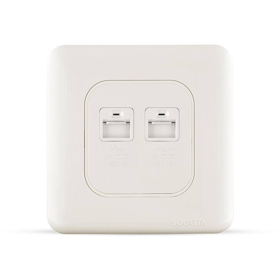 almas 2gang usb socket white color spectra