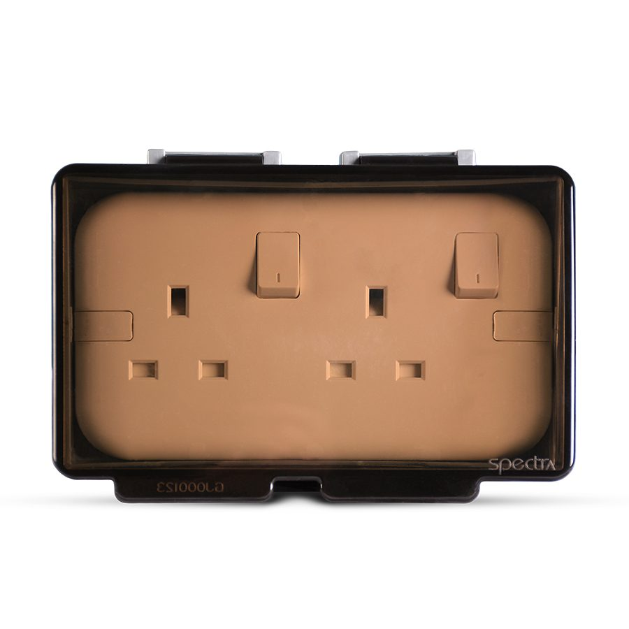 Weatherproof-2Gang-Socket-enclosure,-Flush-mounted