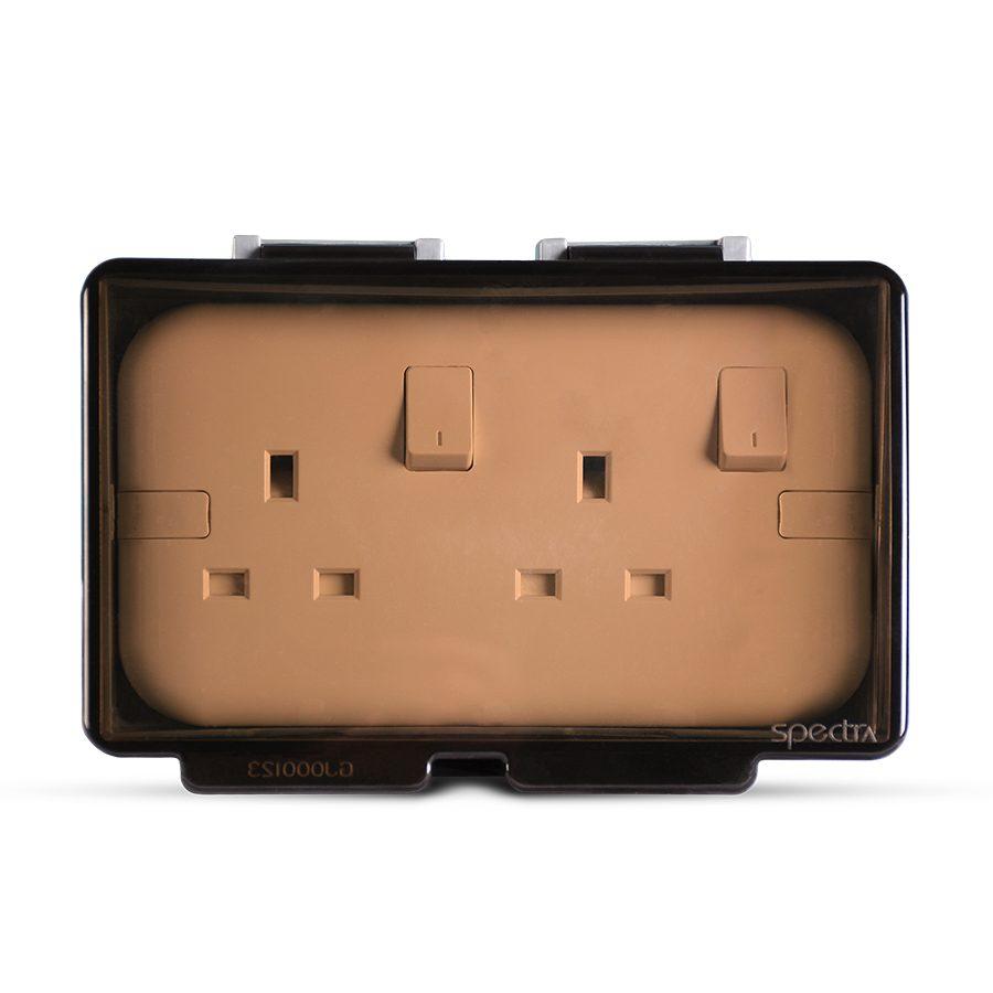 Weatherproof-2Gang-Socket-enclosure,-Flush-mounted